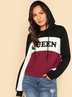 Shop Cut And Sew Printed Hoodie online. SHEIN offers Cut And Sew Printed Hoodie & more to fit your fashionable needs. Trendy Outfits, Fashion Outfits, Ootd Fashion, Girl Fashion, Cut Sweatshirts, Cut And Color, Sweat Shirt, Fashion News, Preppy
