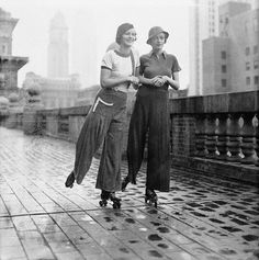 """1933 (04-19) Rollerskating on the roof of Roosevelt Hotel (by straatis)  19 Apr 1933, Manhattan, New York, New York, USA —- A Roller Skater?  Here's Your Costume. Are you a devotee of the new roller skating fad now  popular among members of the smart set? Then here are the costumes you  should wear according to the dictates of Dame Fashion. Miss Theresa  Townsend (left) and Miss Joan Hamilton are wearing the jersey  """"sylo-jamas"""" in red, white and blue during a period of sk"""