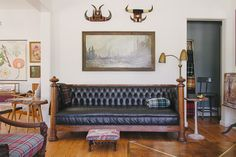 WELCOME TO HOMESTEAD 06   Quarter Sawn Oak and Black Leather Chesterfield - Mid Century Print - Bull Horns