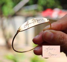Signature Engraving Oval Shape Bracelet by LilyLilyJewelry