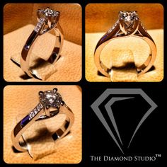 """""""Classic meets Modern"""" is becoming a trend at The Diamond Studio. Once again I have combined the two styles into this new piece. In the centre is a 0.50 carat Hearts and Arrows diamond. It is held securely aloft in my favourite criss-cross floating head, and accentuated by 3 graduated diamonds set along each side of the band. #diamonds #weddings #engagementring #rings #jewellery #jewelry #thediamondstudio"""
