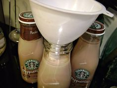 Bottled Starbucks Frappuccino recipe--Tested and approved! This is the real deal. :3 For the plain coffee version, add 1 1/2 more cups espresso and omit chocolate.