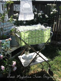 Super Sweet Vintage Laundry Cart Folds Flat, Removable Shelf, Custom Liner by SweetMagnoliasFarm SOLD TO A GOOD HOME