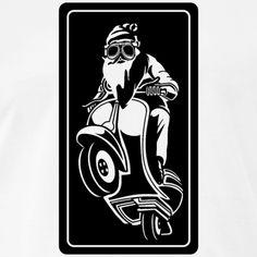 WEIHNACHTSMANN MIT BRILLE, MOTORRAD CARTOON, SHIRT