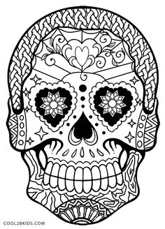Day-of-the-Dead-Skull-Coloring-Pages.jpg 800×1,113 pixeles