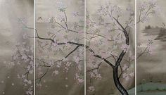 Hand Painted Wallpaper, Hand Painted Walls, Japanese Painting, Chinese Painting, Padded Wall Panels, Deco Paint, Japanese Wall, Interior Wallpaper, Chinoiserie