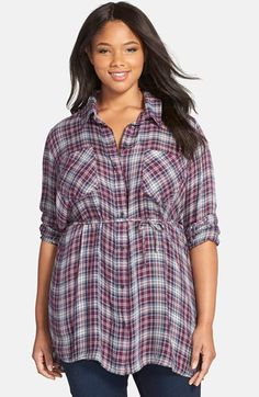 MELISSA MCCARTHY SEVEN7 Belted Plaid Tunic