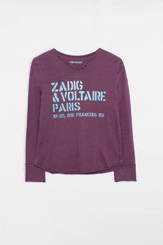 T-shirt Zadig et Voltaire, col tunisien avec boutons, manches longues, inscription sur l'avant, 100% coton.