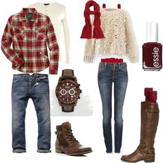 """""""Couples Autumn What To Wear"""" red + tan + denim + brown Family Outfits, Couple Outfits, Fall Family Picture Outfits, Family Portrait Outfits, What To Wear Fall, How To Wear, Winter Family Photos, Family Pics, Family Pictures What To Wear"""
