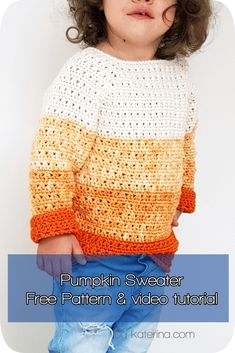 Free Pattern & Video Tutorial ByKaterina The Pumpkin Sweater Crochet patterns Pumpkin Sweater crochet pattern with stitcb chart, diagram and video tutorial. Crochet Toddler Sweater, Crochet Jumper Pattern, Cardigan Au Crochet, Crochet Baby Sweaters, Baby Sweater Patterns, Baby Girl Crochet, Crochet Baby Clothes, Crochet For Boys, Baby Knitting