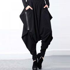 Harem Pants Elastic Waist Baggy Low-Crotch //Price: $21.42 & FREE Shipping //     #beauty #beautiful #girl