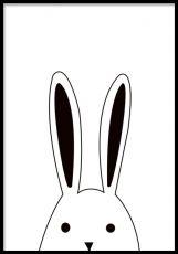 Söta barntavlor med djur. En kanin som tittar upp. Våra posters är tryckta på ett matt papper. Skapa en mysig inredning till ditt barn med några gulliga affischer.