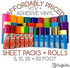 Affordably priced and packaged with care - Craftables vinyl rolls and sheets. and 50 roll options. Cricut Vinyl, Vinyle Cricut, Cricut Craft, Buy Vinyl, Cricut Air, Vinyl Decals, Vinyl Crafts, Vinyl Projects, Crafty Projects