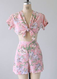 a60ad3d6795 Vintage 1940s Two Piece Pink Floral Playsuit 1940s Fashion