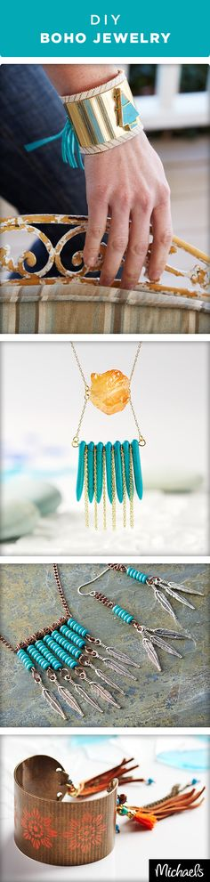 Embrace the season's hottest trend in fashion with DIY Boho jewelry pieces. Fringe, leather, turquoise and tassels make big statements. Get the tutorials to make these jewelry projects on Michaels.com