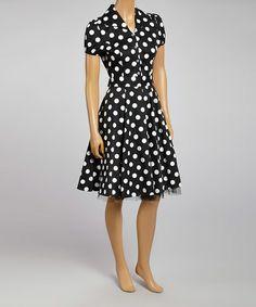 Black & White Polka Dot Button-Up Dress