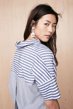 b0aa793722 Courier Button-Back Shirt in Stripe Mix