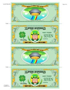 Printable St. Patty's Day 'Luck Bucks' for the kids!