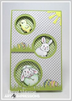 Renlymat's World: Sweet Easter from Art Impressions! Handmade card with chick and bunnies. cards handmade Sweet Easter from Art Impressions! Diy Easter Cards, Easter Greeting Cards, Easter Crafts, Handmade Easter Cards, Handmade Art, Art Impressions, Kids Cards, Baby Cards, Scrapbook Cards