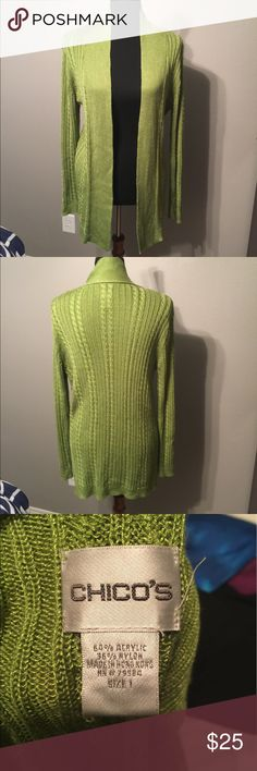 Chicos Lime Green Sweater Sz 1 Beautiful lime green sweater that's a must have for any closet. Perfect for a chilly night in spring Chico's Sweaters