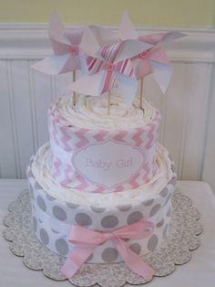 Pinwheel Diaper Cake-Baby Girl Gift by LaurasCraft on Etsy