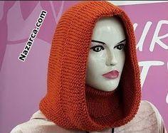 BALIKÇI YAKALI KAPÜŞONLU BAYAN BERE TARİFİ | Nazarca.com Bandanas, Knitted Hats, Crochet Hats, Knitting Designs, Couture, How To Make, Fashion, Cowls, Beanies