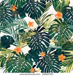Summer colorful hawaiian seamless pattern with tropical plants and hibiscus flowers, vector illustration