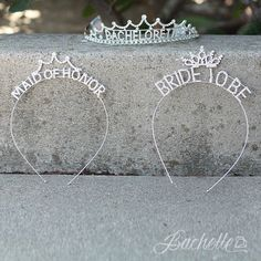 "These adorable little tiaras are a super fun sparkly way to show how special the Maid of Honor is in a girly way! Shiny rhinestones spell out the words ""Maid of Honor"" with an adorable crown detail."
