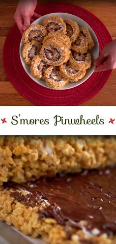S'mores Pinwheel Recipe | Here's a fun twist on rice krispie treats that's great for the holidays. Graham crackers, marshmallow creme and chocolate chips make up the gooey middle. Fun for the kids to make too. #desserts