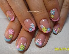Short natural nails with pretty flower art - Best Nail Art Easter Nail Designs, Easter Nail Art, Nail Designs Spring, Nail Art Designs, Nails Design, Fancy Nails, Cute Nails, Pretty Nails, My Nails