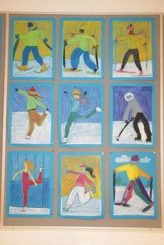 Group art projects, winter art projects, projects for kids, grade art, Group Art Projects, Winter Art Projects, Winter Project, Projects For Kids, 2nd Grade Art, Ecole Art, Kindergarten Art, Sports Art, Art Classroom
