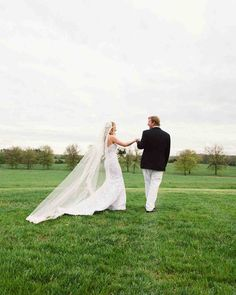 A Country-Chic Wedding on a New Jersey Farm | Martha Stewart Weddings - Following the ceremony, the couple posed for pictures at their favorite view of the whole property—right on the back terrace, where they had exchanged vows.