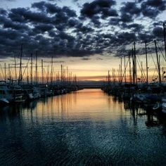 Sunset at Shilshole Marina.  Love having afternoon beers on our boat watching sunset.