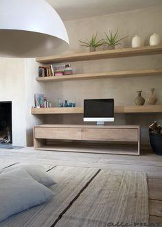 Strak eiken tv-meubel Nordic met twee laden - Woonwinkel Alle Pilat