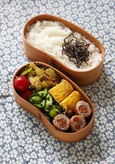bento with pork, omelette and pickles