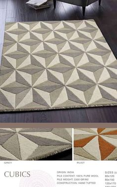 Cubics PURE New Wool HAND TUFTED RUG IN GREY or RUST 4 Sizes                      – ORIGINS RUG COLLECTIONS
