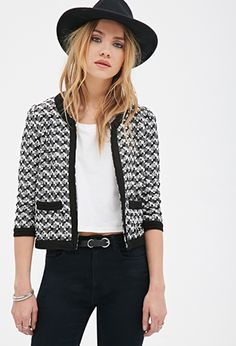 Two-Tone Textured Jacket | FOREVER21 - * somewhat Chanel style)