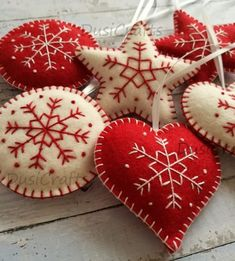 Wool Felt Red White Christmas Ornaments Felt Christmas ornaments – set of 6 heart, star, snowflake traditional ornaments white and red / wool felt Listing is for set of 6 ornaments Size is about 7 cm ( 3 inches) Handmade from pure … White Christmas Ornaments, Felt Christmas Decorations, Felt Ornaments, Handmade Christmas, Christmas Crafts, Christmas Music, Christmas Tree, Star Ornament, Embroidered Christmas Ornaments