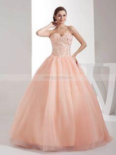 Beaded Corset Featured Organza and Satin Wedding Dress