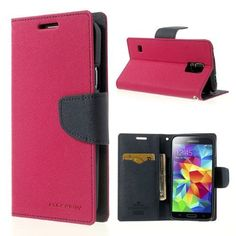 Mercury GOOSPERY Fancy Diary Leather Wallet Case for Samsung Galaxy S5 G900 - Dark Blue / Rose