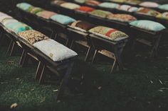 Vintage fabric ceremony seating cushions