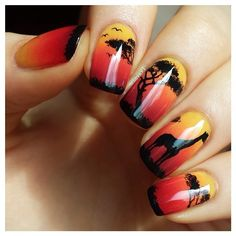 lieve91 #nail #nails #nailart safari sunset