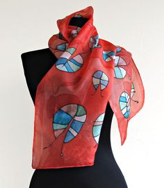 Hand Painted Silk Scarf  Beetles  . Paint by hand by AHouseAtelier, $50.00