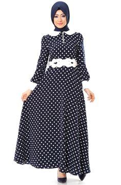 Avenna Puantiyeli Elbise 5Y968 Lacivert