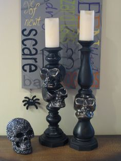 DIY skull candlesticks. Scary! Yay even more uses for dollar tree skeletons!
