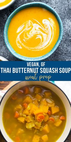 A simple and healthy vegan Thai butternut squash soup recipe made with lemongrass and coconut milk! Tastes even better on day 2, is gluten- and dairy-free and easy to prep. #sweetpeasandsaffron #vegan #mealprep #dairyfree #glutenfree #coconutmilk #butternutsquash #thaisoup Best Soup Recipes, Chili Recipes, Vegan Recipes, Cooking Recipes, Freezer Recipes, Amazing Recipes, Lunch Recipes, Vegan Meal Prep, Lunch Meal Prep