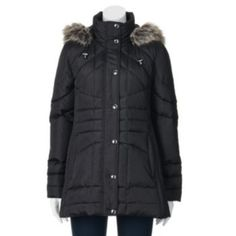Towne by London Fog Hooded Down Quilted Puffer Jacket - Women's