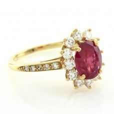 Tiffany & Co Natural, Untreated Ruby Ring with Diamond Halo in 18K Yellow…