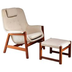 Carl-Gustav Hiort af Ornäs Lounge Chair with Ottoman, Finland, 1950s | From a unique collection of antique and modern lounge chairs at https://www.1stdibs.com/furniture/seating/lounge-chairs/