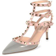 6ef62f4d401 Valentino Rockstud Colorblock Leather Mid-Heel Sandal ( 1